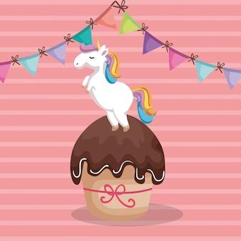 ユニコーンと甘くておいしいカップケーキ