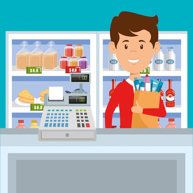Человек с продуктами супермаркета в корзине