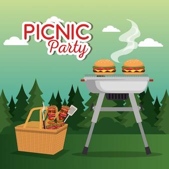 ピクニックパーティーのお祝いシーン