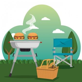 Сцена празднования пикника