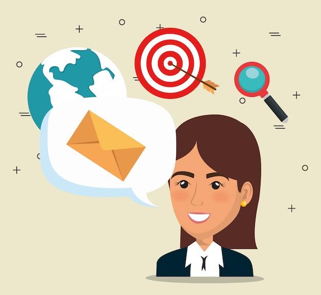 Коммерсантка с значками маркетинга электронной почты