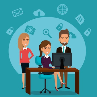 Бизнесмены в офисе с иконками маркетинга электронной почты