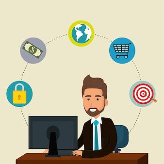 Бизнесмен в офисе с иконками маркетинга электронной почты