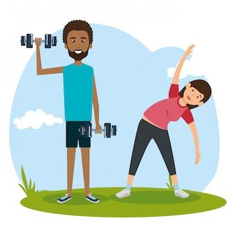 Спортивные люди, практикующие упражнения персонажей