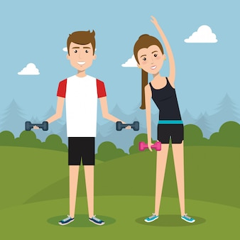 運動の文字を練習して運動の人々