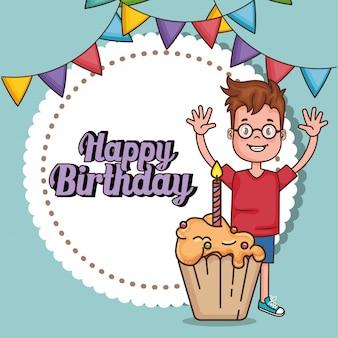 小さな男の子との幸せな誕生日カード