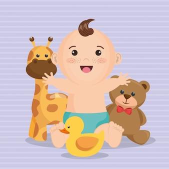 小さな男の子とベビーシャワーカード