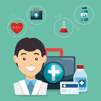 Доктор с иконами медицинской службы