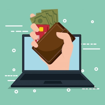 ノートパソコンとオンラインでお金を節約