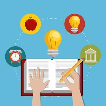 Образование легкое обучение набор иконок