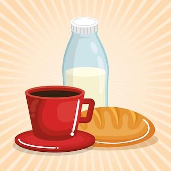 Кофе и молоко с хлебом