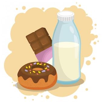Молоко и пончик с плиткой шоколада
