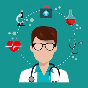 Мужчина доктор с иконами медицинских услуг