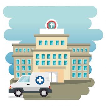 Здание больницы с машиной скорой помощи