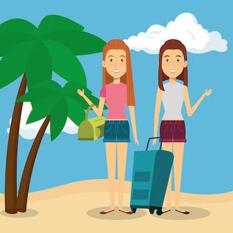 Женщины дружелюбны на пляже
