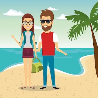 ビーチの文字でカップル