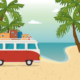 Пляж морской пейзаж красивая сцена