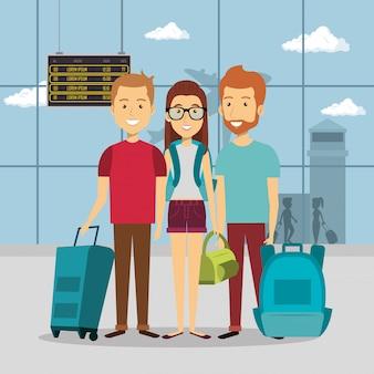 空港での旅行者のグループ