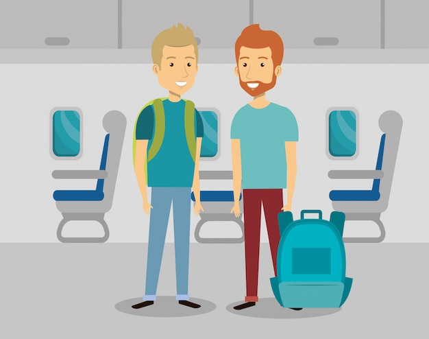 Мужчины путешественники в самолете