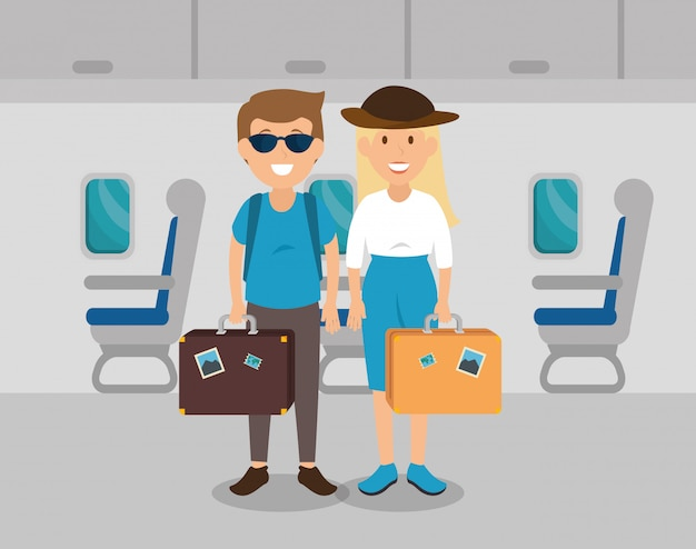 飛行機の中でカップル旅行者