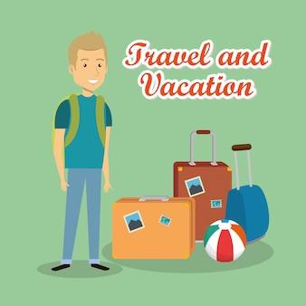 スーツケースの文字を持つ男の旅行者