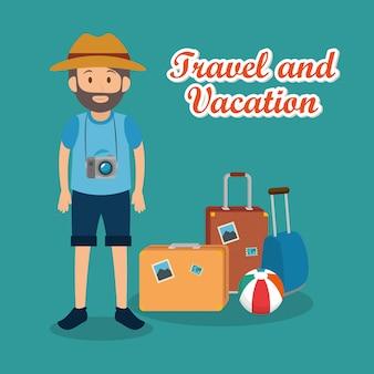 Человек путешественник с чемоданами персонажей