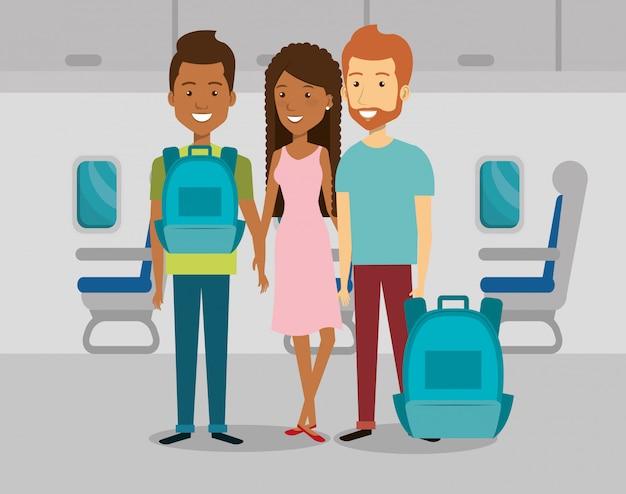 飛行機の中で旅行者