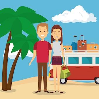 Пара на пляже персонажей