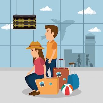 Пара путешественников в аэропорту персонажей