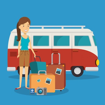 Женщина путешественник с чемоданами персонажей