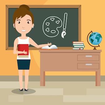 教室で女教師