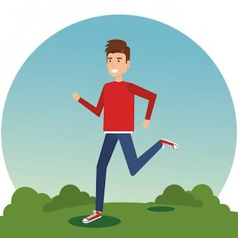 公園で走っている若い男