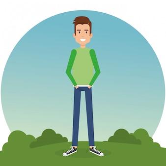 公園の若い男