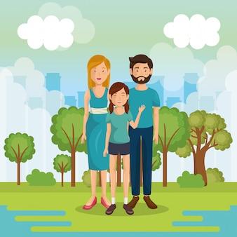 風景の中の外の家族