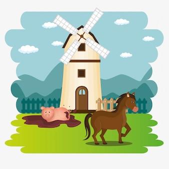 農場のシーンの動物