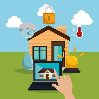 スマートホーム技術を制御するラップトップ