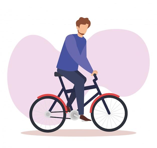 自転車のアバターのキャラクターの若い男