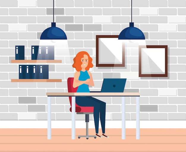 実業家と近代的なオフィス