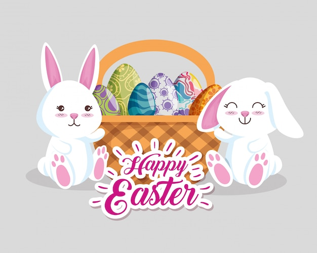 バスケットの中の卵の装飾と幸せなウサギ