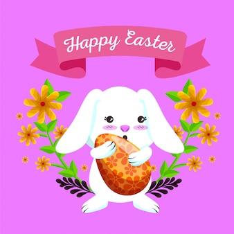 卵と花の植物と幸せなウサギ