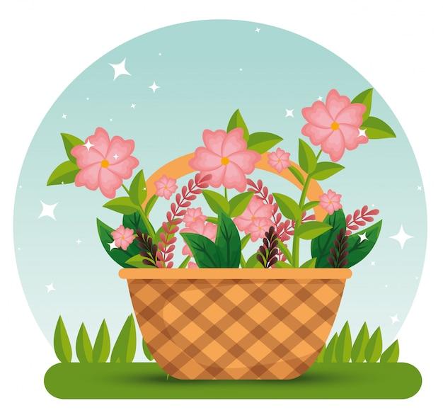 Цветы растения с ветвями листьев внутри корзины