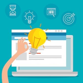 ウェブサイトのオフィス情報を備えたラップトップ技術