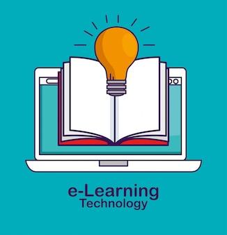 本と電球のアイデアとラップトップ技術
