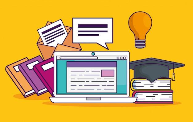 Ноутбук документ с книгами и идея лампы