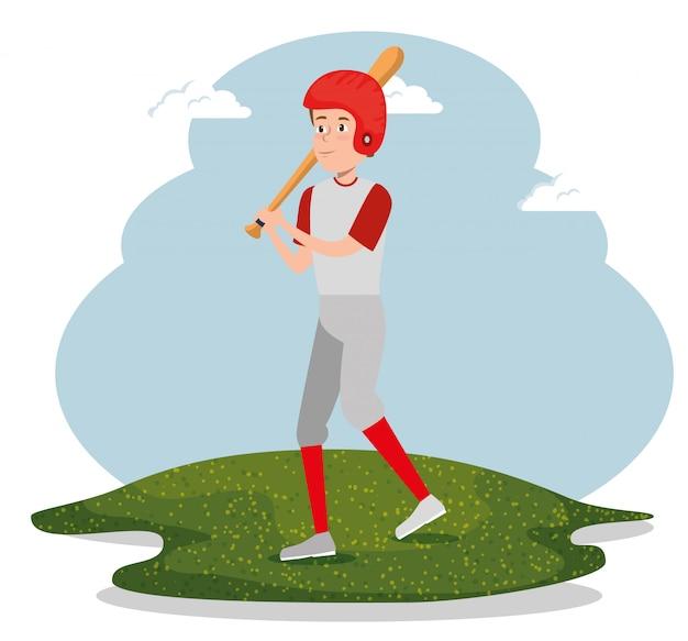 若い男が野球の練習