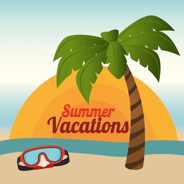 Лето и каникулы, пальмовые и дайвинг-очки на пляже