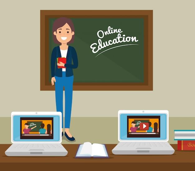 ラップトップを使用した教室でのオンライン教育