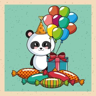 パンダのクマとの幸せな誕生日カード