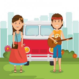 ヒッピーのカップル、ギターとバン