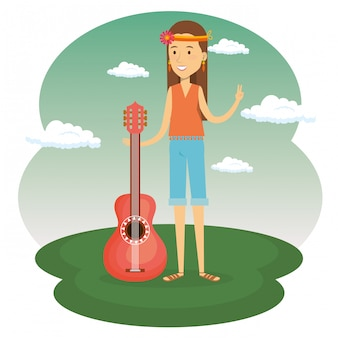 ヒッピー女性とギター